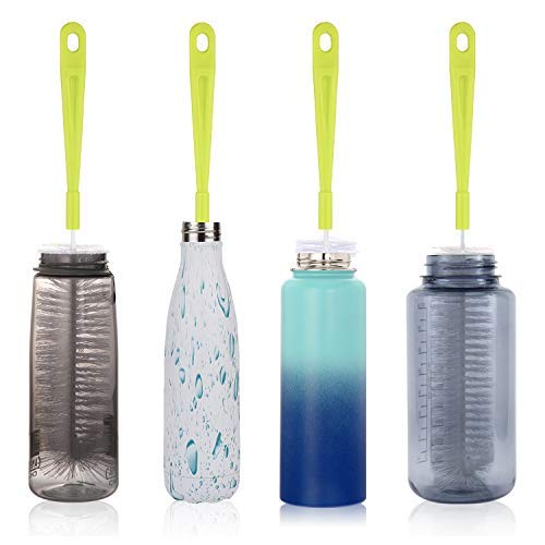Bottle Cleaning Brush Set - Long Handle Bottle Cleaner for Washing Beer Wine Decanter Narrow Neck Bottles, Sports Water Bottles, Fits Hydro flask Camelback Contigo, Tea Kettle & Spout Cleaner Brushes by Hiware (Image #1)