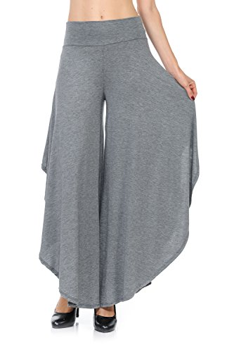 Ladybug Women's Layered Wide Leg Flowy Cropped Palazzo Pants, 3/4 Length High Waist Palazzo Wide Legs Capri Pants (Medium, Charcoal)