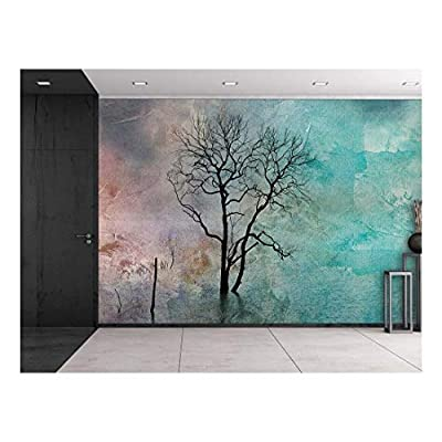 With Expert Quality, Stunning Design, Lone Tree Against a Colorful Watercolor Background Wall Mural