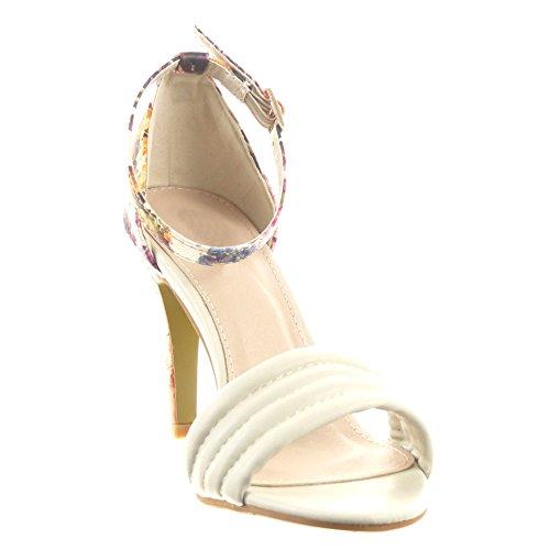 Sopily - Scarpe da Moda scarpe decollete Stiletto alla caviglia donna fiori Lines Tacco Stiletto tacco alto 9.5 CM - Beige