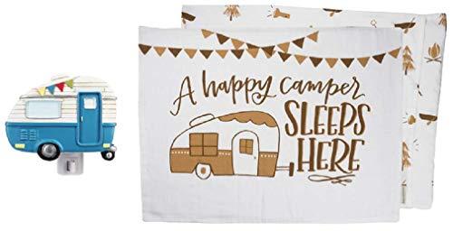 Ganz Blue Vintage Camper Night Light Bundle with 2 Piece Camper Pillowcase Set
