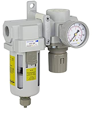 "PneumaticPlus SAU420-N04G Compressed Air Filter Regulator Combo 1/2"" NPT - Poly Bowl, Manual Drain, Bracket, Gauge"