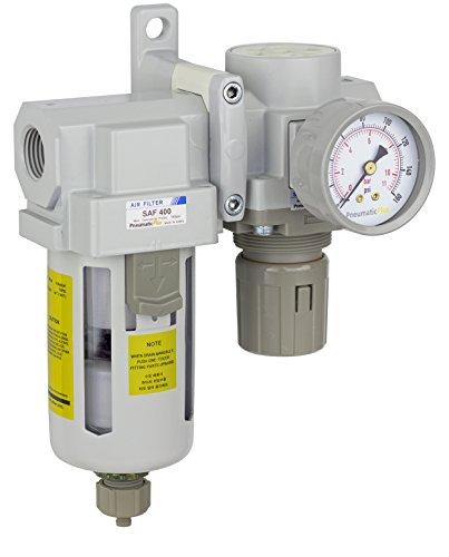 PneumaticPlus SAU420-N04G Compressed Air Filter Regulator Combo 1/2' NPT - Poly Bowl, Manual Drain, Bracket, Gauge