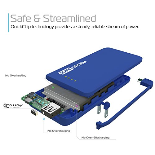Tzumi PocketJuice Endurance AC - Mini Portable Smart Device Battery Pack Charger - 4,000 mAh High-Speed Single USB Port - Works With All iPhone And Android Devices & Includes Micro USB Cable - Blue by Tzumi (Image #4)