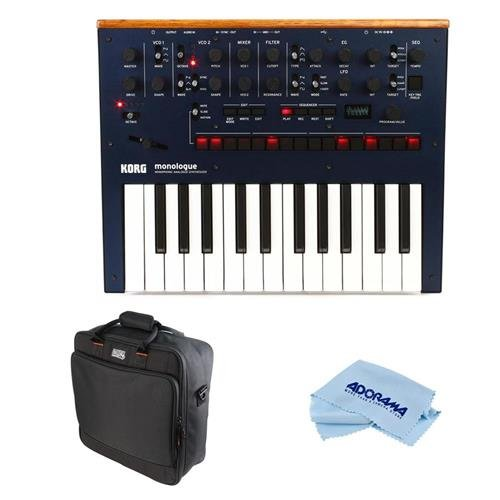 Korg Monologue 25-Key Monophonic Analog Synthesizer with 80 Presets, Dark Blue - Bundle Gator Cases Updated Padded Nylon Mixer/Equipment Bag, Microfiber Cloth by Korg