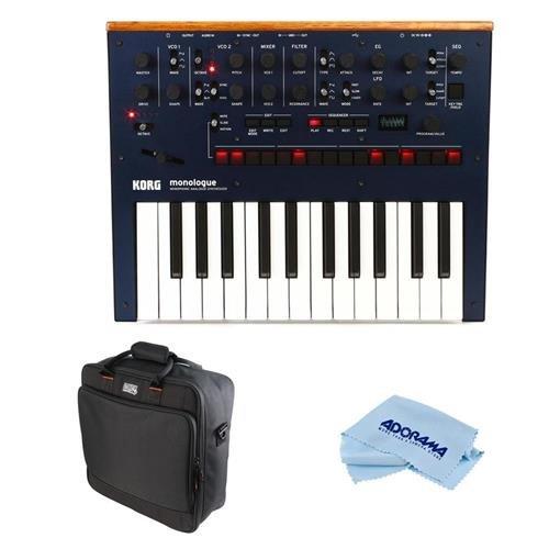 Korg Monologue 25-Key Monophonic Analog Synthesizer with 80 Presets, Dark Blue - Bundle Gator Cases Updated Padded Nylon Mixer/Equipment Bag, Microfiber Cloth
