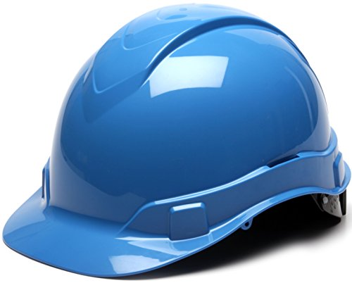Light Blue Hard Hat (Pyramex Ridgeline Cap Style Hard Hat, 4-Point Ratchet Suspension, Light)