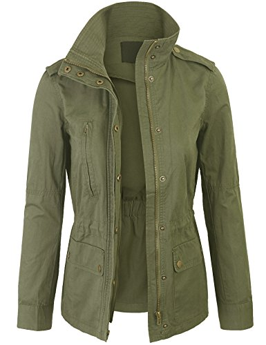 Kogmo Womens Zip Up Military Anorak Safari Jacket Coat -S-GREEN