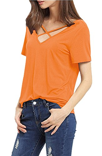 Orange Womens Cut T-shirt - AM CLOTHES Womens Plus Size Criss Cross Front V Neck T Shirts Tops Tees Orange Medium