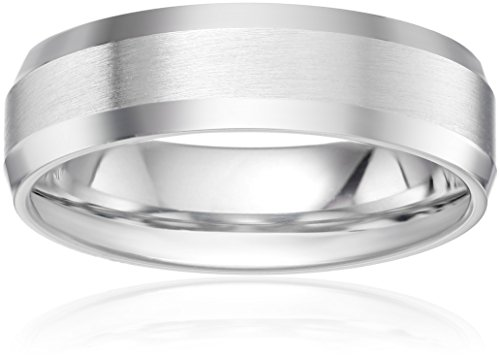 Platinum 6mm Comfort-Fit Wedding Band with Satin Center and High-Polish Beveled Edges, Size 10