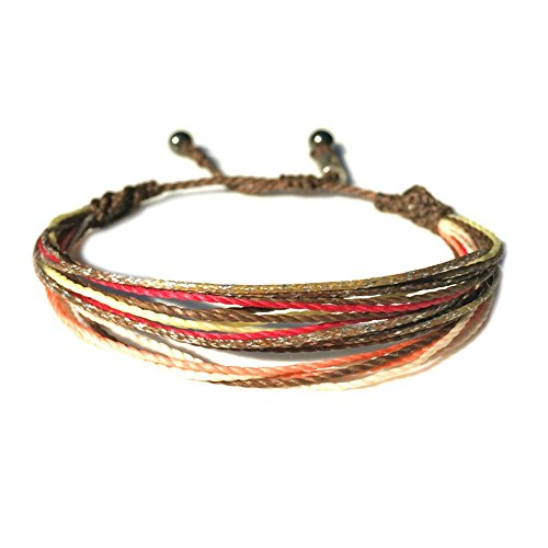 Unisex String Surfer Bracelet with Hematite Stones in Brown, Coral, Hot Pink and Yellow: Handmade Pull Cord Adjustable Surf Bracelet by Rumi (Stone Cord)