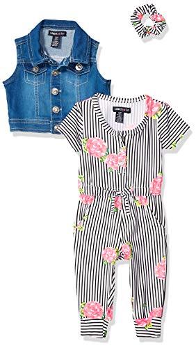 Limited Too Baby Girls 3 Piece Denim Vest, Romper and Hair Accessory Set, Striped Roses Multi Print, 24M - Ltd Denim Pant