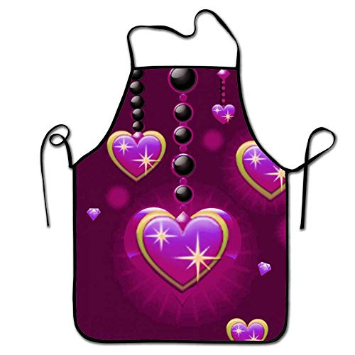 amiuhoun Colorful Kitchen Aprons Purple Love Heart Bling Bib Apron Adult's Aprons for Cooking Baking Griling]()