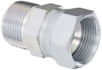 "Eaton Weatherhead 9100X16X16 Carbon Steel SAE 37 Degree (JIC) Flare-Twin Fitting, Swivel, Adapter, 1"" NPT Male x 1"" JIC Female"
