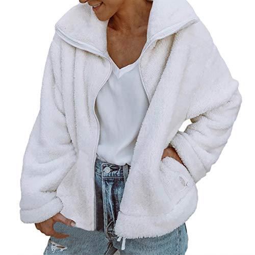Btruely Abrigo de Felpa Sintética Invierno Chaqueta Moda Vintage Mujer Chaqueta de Cuero con Cremallera Abrigo Cardigan con Bolsillo Abrigo Largo Sudaderas ...