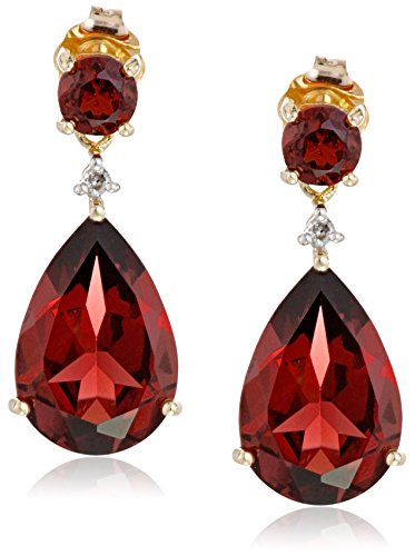 10k Yellow Gold Garnet and Diamond Drop Earrings (.02 cttw, I-J Color, 12-13 Clarity) by Amazon Collection