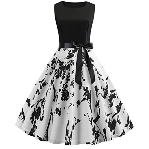 Sunhusing Ladies' Vintage Round Neck Sleeveless Big Swing Dress Stave Musical Prints Waist Belted Prom Gown White ()