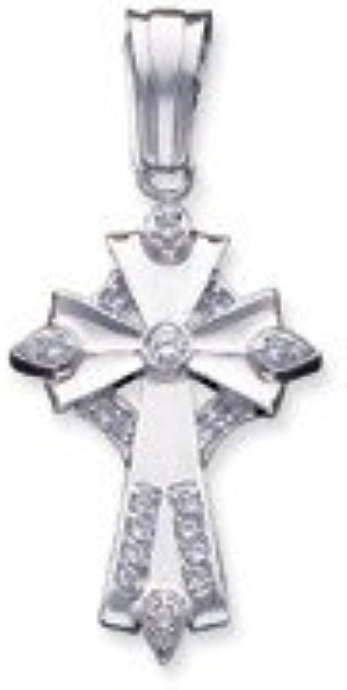 Goldia Sterling Silver CZ Cross Pendant