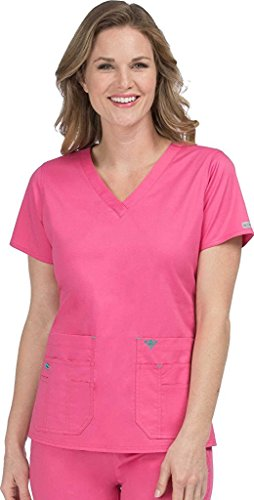 Med Couture 8458 Women's Flex-It V-Neck Solid Scrub Top Bubblegum/Spearmint M