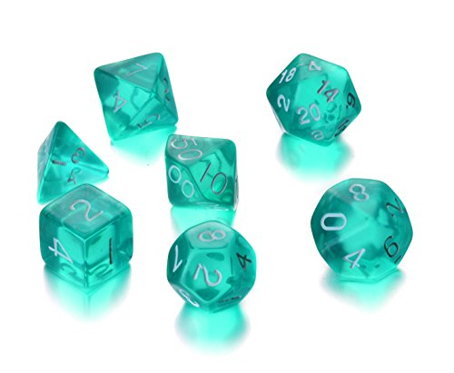 REINDEAR 7 Die Polyhedral Role Playing Game Dice Set with Velvet Pouch (Transparent Turquoise)