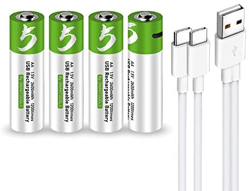 USB AA Lithium ion Rechargeable Battery, High Capacity 1.5V 2600mWh Rechargeable AA Battery, 1.5 H Fast Charge, 1200 Cycle with Type C Port Cable, Constant Output,4-Pack