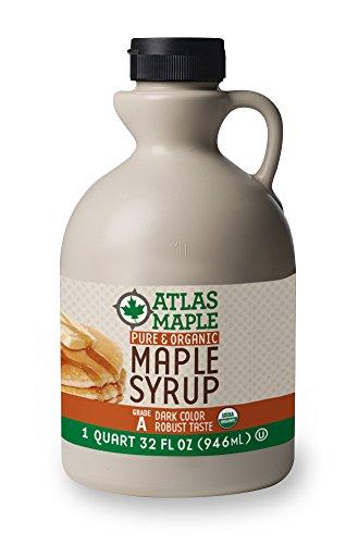 Atlas Maple Organic Maple Syrup, 100% Pure Grade A (Prev. Grade B), Dark Color, Robust Taste, All Natural, Easy Pour, 32 Fl Oz, 1 Qt