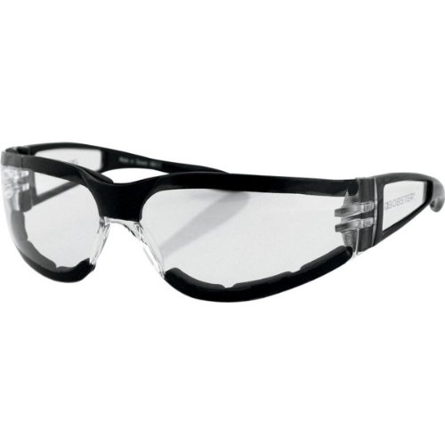 Bobster Shield II Adult Frameless Designer Sunglasses - Black/Clear / One Size Fits All (Motorcycle Sunglasses Bobster Womens)