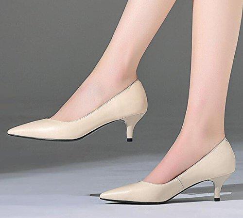 Beige Moyen Cuir Peu en Les Chaussures Fin Chaussures Confortables Chaussures Le Talon des des Travail Professionnelles Les Talon La DKFJKI Profonde Bouche Femmes Pointues de Femmes Le avAFwxq