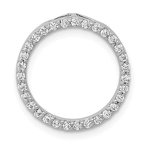 14k White Gold Diamond Circle Pendant Charm Necklace Slide Chain Fine Jewelry Gifts For Women For Her