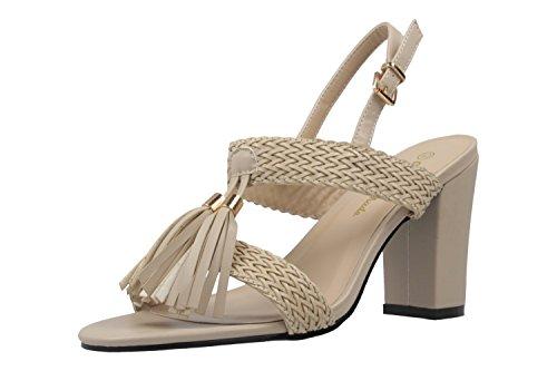 Andres Machado Damen Sandaletten - Beige Schuhe in Übergrößen
