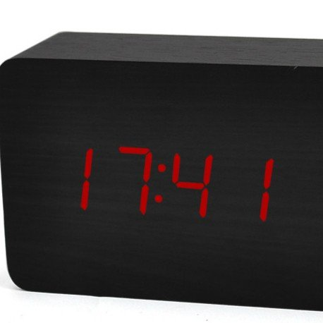 Electronic alarm clock, bedside creativity, student clock, electronic alarm clock, wood, wooden, led, mute, luminous alarm clock,H