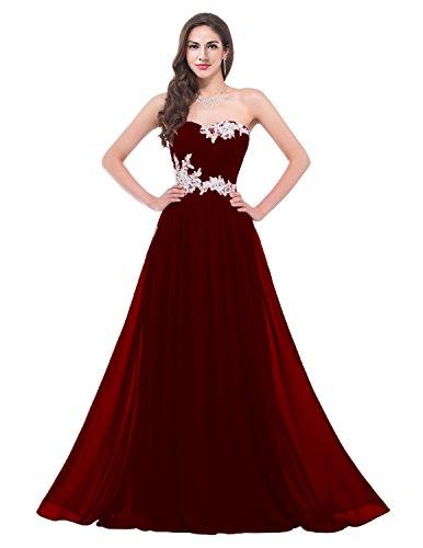 Mousseline De Talinadess Longue Robe De Bal Robe De Bridemaid E001lf Bourgogne Chérie Applique