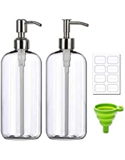 Plastic Boston Round Bottle Refillable Container Empty DIY Dispenser for Essential Laundry Detergent Lotions Oil with Pump & Funnel