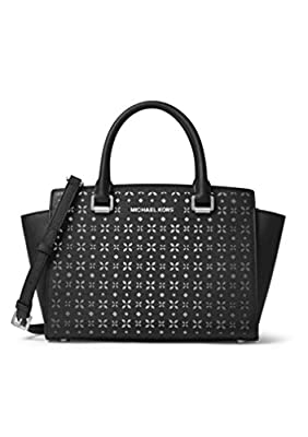 MICHAEL MICHAEL KORS Selma Medium Saffiano Leather Satchel (Medium, Perforated Black)