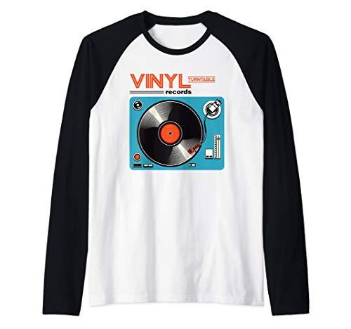 Retro LP Vinyl Record Turntable Player DJ Music Gift Raglan Baseball Tee