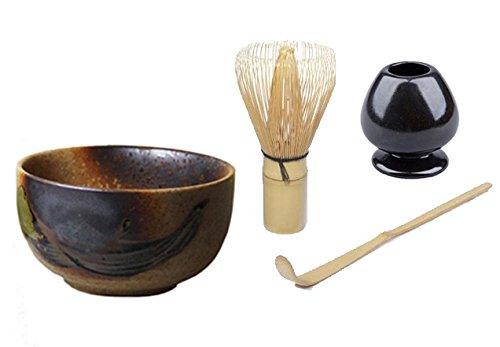 Quertee® - Matcha Set – Un bol original japonais à matcha - 400 ml PLUS un fouet à matcha chasen – fouet à matcha PLUS un support de fouet à matcha PLUS une cuillère en bambou à matcha chashaku tee-markt24
