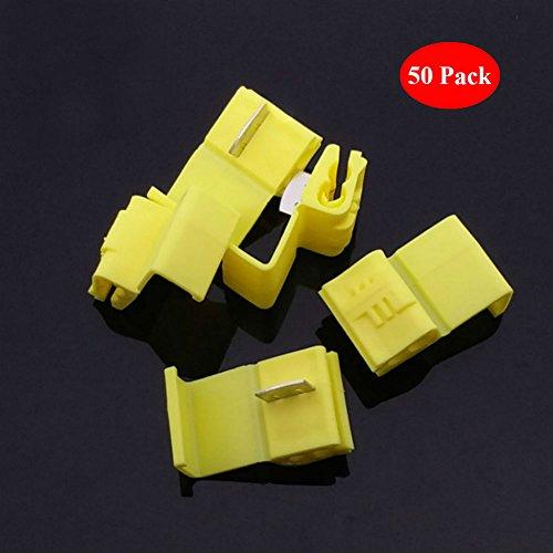 (AKOAK 50 Pack 12-10 Gauge Yellow Double Run Solderless Wire Connectors Tap In Quick Splice Connector Electrical Wire Splice Connectors)