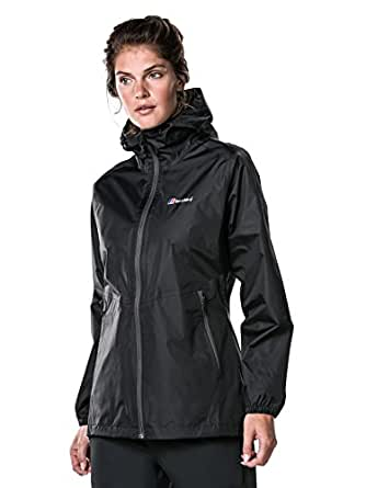 Berghaus Women's Deluge Light Waterproof Shell Jacket, Black/Black, 8