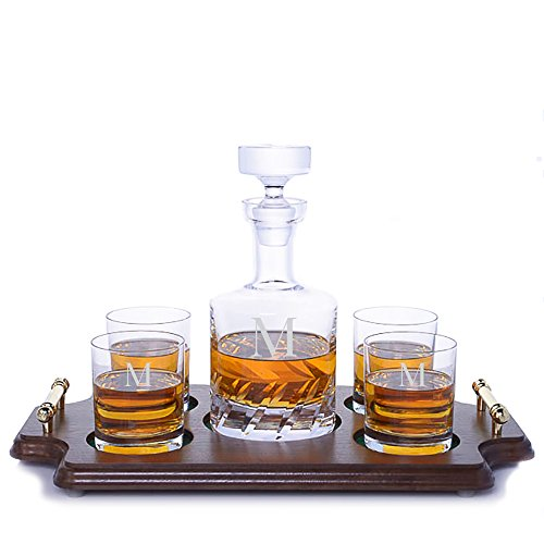 (Personalized Ravenscroft Lead-free Cut Crystal Beveled Blade Whiskey Liquor Decanter & 4 Rocks Glasses & Walnut Serving & Presentation Tray with Brass Handles Engraved & Monogrammed - Retirement Gift)
