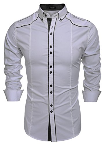 French Designer Dresses - COOFANDY Men's Button Down Dress Shirts Casual Slim Fit Shirts(Silver,M)