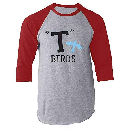 T Birds Gang Logo Costume Retro 50s 60s Costume Red L Raglan Baseball Tee - Dannys Grease T-bird Jacket