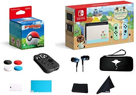 Switch 2020 Premium Holiday Bundle - Animal Crossing: New Horizons Deluxe Edition with Switch Poke Ball Plus, Deluxe 13 in 1 Hesvap Accessories Bundle