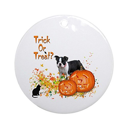 Larmai Halloween Boston Terrier Keepsake Housewarming Xmas Ceramic Ornament Gift for Man Women 2018
