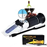 Optics Grape Wine Refractometer with ATC, Dual Scale 0-25%vol and Alcohol & 0-40% Brix, for Wine Making, Homebrew Kit, Winemakers, with LED light and pipettes