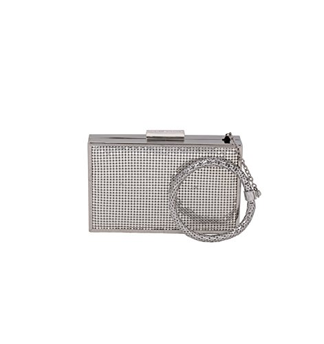 [Whiting & Davis Metal Mesh Scale Bracelet Evening Bag, Silver, One Size] (Metal Mesh Bag)