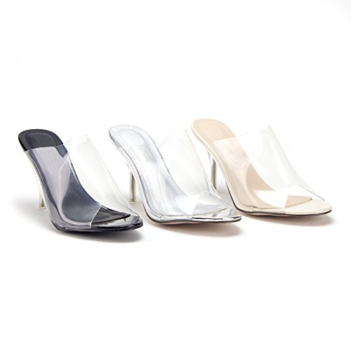 e7b471e6e34f Jual Jazame Women s Clear Lucite Slip On Kitty Heels Open Toe Pumps ...