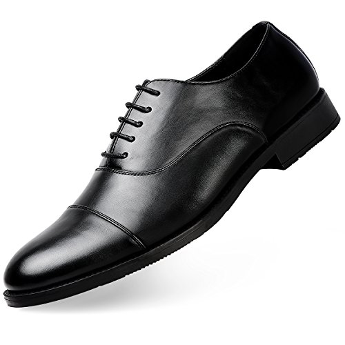Sandes Men's Dress Shoes Formal Leather Oxfords Lace up Black 9