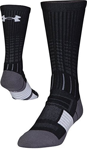 Under Armour Men's Unrivaled Crew Single Pair Socks, Black/White, Large