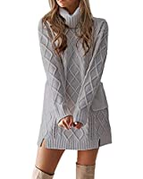 WOCACHI Final Clear Out Womens Knit Sweater Turtleneck Warm Long Sleeve Mini Dress with Pockets Solid Color Autumn Bottoming Shirts Long Tunic Pullover (Gray, Medium)