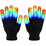 Skeleton Gloves, Led Gloves Kids, Light Up Gloves Finger Light Magic Toys Gift Stocking Stuffers for Boys Girls Age from 5 To 10 Christmas Thanksgiving Birthday Glow Party Favor (Black, Adult)